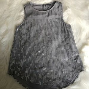 Anthropologie Michael Stars Gray Sequin Silk Top